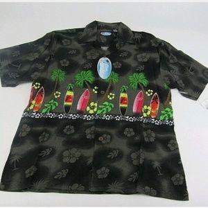 Hawaiian Shirts Big Kids Black Button Down Youth